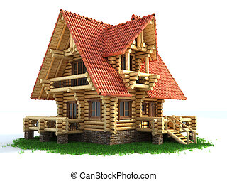 log house 3d illustration isolated on white background