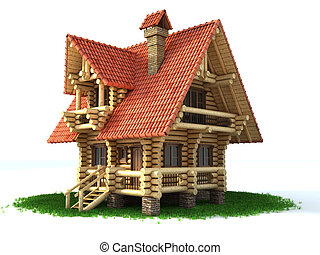log house 3d illustration