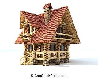 log house 3d illustration isolated on white