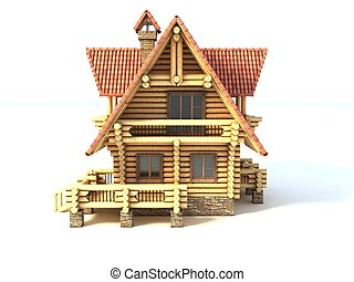 log house 3d illustration isolated