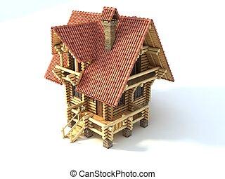 log house 3d illustration isolated