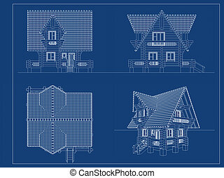 log-house blueprint 3d illustration