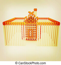 Log house from matches pattern. 3D illustration. Vintage style.