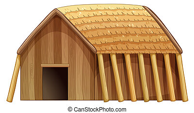 Illustration of a log house
