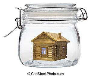 log house in glass jar