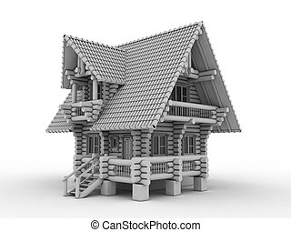 log house on white 3d illustration