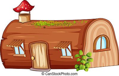 Log house on white background