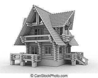 log house on white