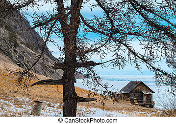Log hut at Olkhon island in Lake Baikal