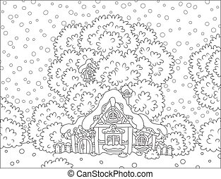 Log hut snow-covered on Christmas