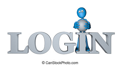 log in - blue guy and the word login - 3d illustration