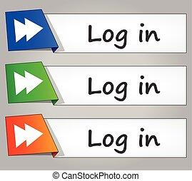 log in buttons - illustration of log in design banner...