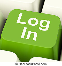 Log In Computer Key Green Showing Access And Entering Websites