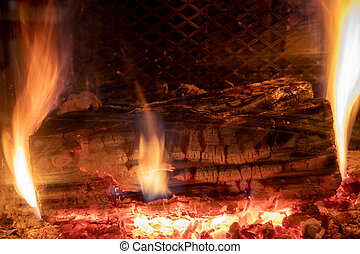 log in fire in a fireplace closeup