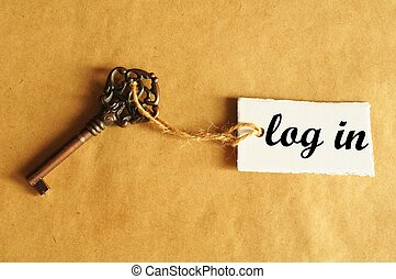 log in internet concept with key and label