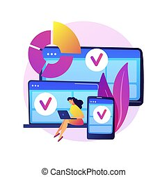 Log in into several devices. Responsive app design. Wifi zone for gadgets. Online communication, social networking, web connection. Initialize sign up. Vector isolated concept metaphor illustration.