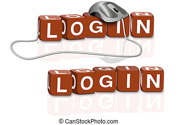 log in - red dices spelling the word login with or without ...