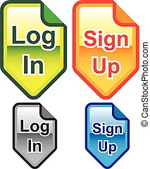 Log In Sign Up Icons Colors