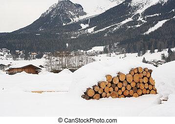 Log Pile in Austrian Alps