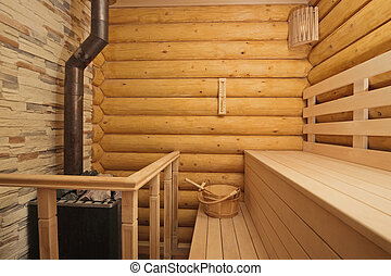 Log sauna with heater - Inside view in traditional Russian ...