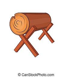 Log stand icon, cartoon style
