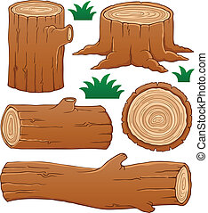Log theme collection 1 - vector illustration.