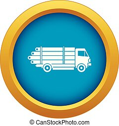 Log truck with the pile of logs icon blue vector isolated