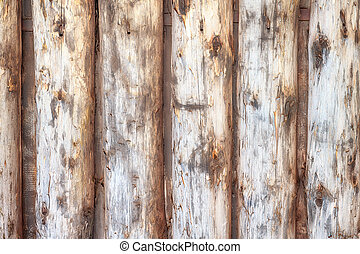 Log wall close up