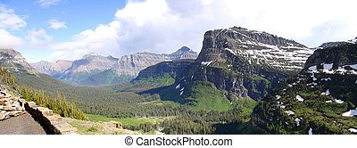 Logan Pass panorama - Panoramic view of Logan pass in...
