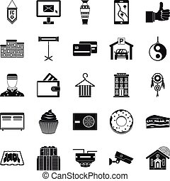 loge, ensemble, style, icônes simples