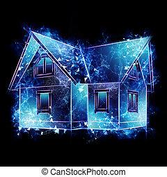 logement, 3d, illustration, maison, concept, rendering., rates., cent, space., signe., intérêt, hologramme, hypothèque, copie