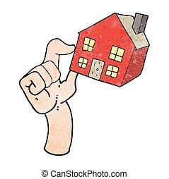 logement, dessin animé, marché, textured