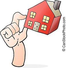 logement, dessin animé, marché