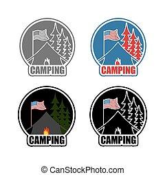 logement, ensemble, emblème, usa, camp., brûler, flag., lune, forest., américain, night., camping, soleil, booth., logo, jour, paysage, tente