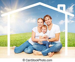 logement, familles, jeune, concept: