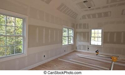logement, finition, construction, projet, détails, maison, drywall, nouveau, intérieur