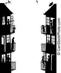 logement, panneaux, côté