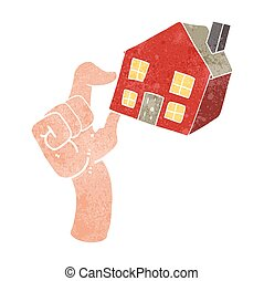 logement, retro, marché, dessin animé