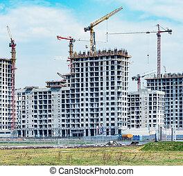 logement, site construction, construction., vue
