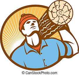 Illustration of a logger forester carrying a log of wood facing front set inside oval done on retro style.