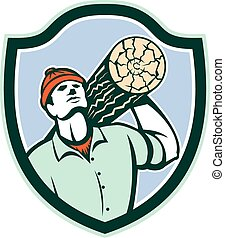 Logger Forester Carry Log Shield Retro - Illustration of a...
