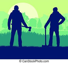 Logger with axe cut firewood vector background landscape