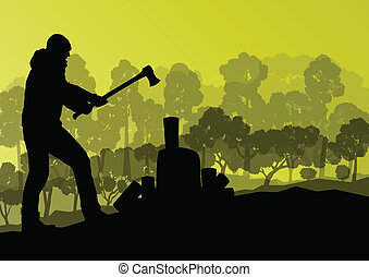 Logger woodcutter with ax in wild mountain forest nature...