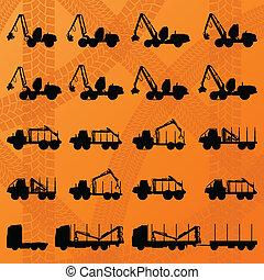loggers, détaillé, camions, editable, tracteurs, illustration, sylviculture, silhouettes, vecteur, hydraulique, fond, collection, machinerie