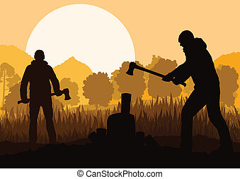 Loggers with axes in wild mountain forest nature landscape ...