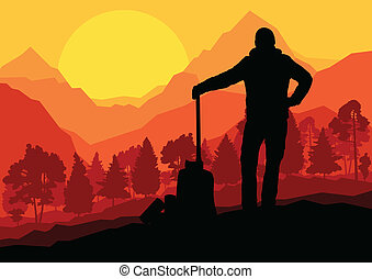 Loggers with axes in wild mountain forest nature landscape...