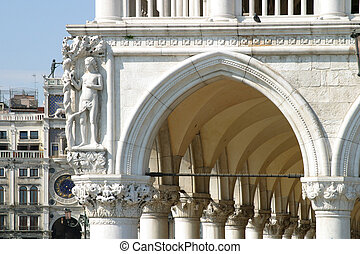 Loggia Doges Palace Venice - details of the Loggia of the...