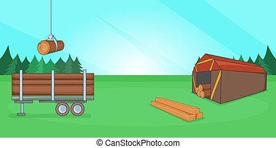Logging banner horizontal, cartoon style