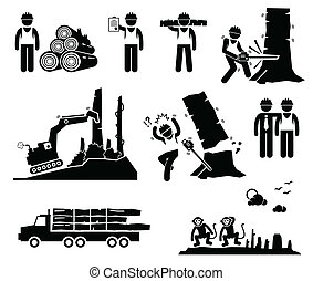 A set of human pictogram representing timber logging and deforestation by human worker. The process destroy natural habitat for animal such as monkey.