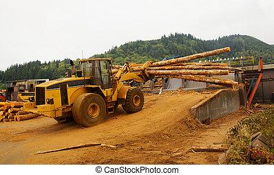 Logging Forklift Loading - Forest Logging Forklift or mover...